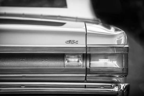 Photograph - 1967 Plymouth Belvedere Gtx Taillight Emblem -0963bw by Jill Reger