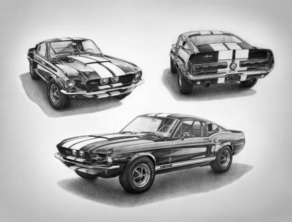 Carroll Shelby Wall Art - Drawing - 1967 Shelby Gt500 Mustang by Nick Toth