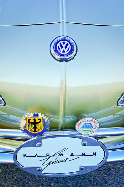 1967 Photograph - 1967 Volkswagen Vw Karmann Ghia Hood Emblem by Jill Reger