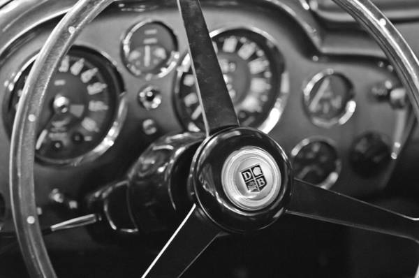 Steering Wheel Wall Art - Photograph - 1968 Aston Martin Steering Wheel Emblem by Jill Reger