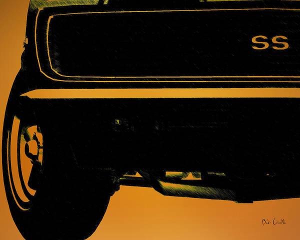 Drawing - 1968 Camaro Ss Front End Closeup  by Bob Orsillo