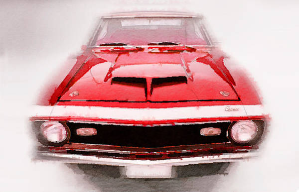 Camaro Wall Art - Painting - 1968 Chevy Camaro Front End Watercolor by Naxart Studio