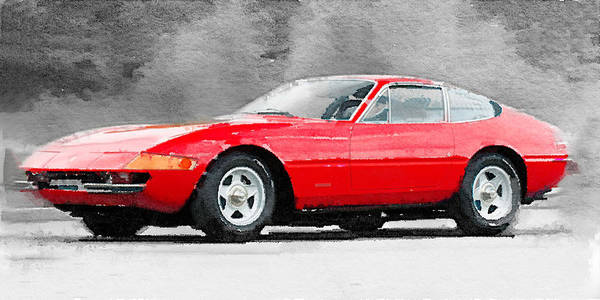 Ferrari Painting - 1968 Ferrari 365 Gtb4 Daytona Watercolor by Naxart Studio
