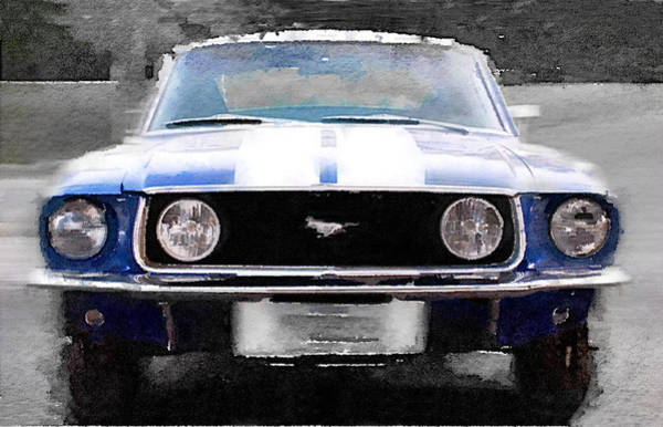 Wall Art - Painting - 1968 Ford Mustang Front End Watercolor by Naxart Studio