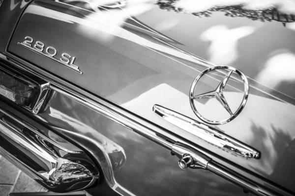 Wall Art - Photograph - 1968 Mercedes-benz 280 Sl Roadster Rear Emblem -0310bw by Jill Reger