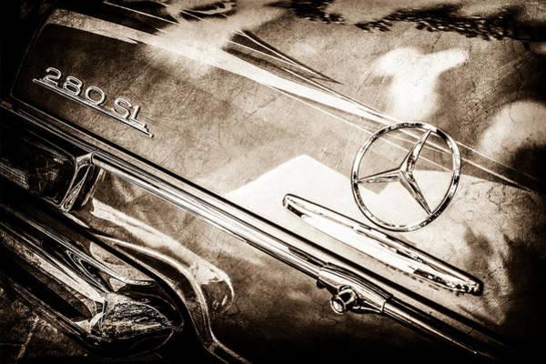Wall Art - Photograph - 1968 Mercedes-benz 280 Sl Roadster Rear Emblem -0310s by Jill Reger