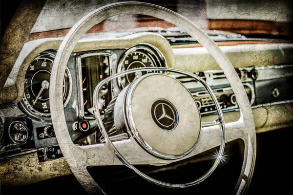 Wall Art - Photograph - 1968 Mercedes-benz 280 Sl Roadster Steering Wheel Emblem -0284ac by Jill Reger