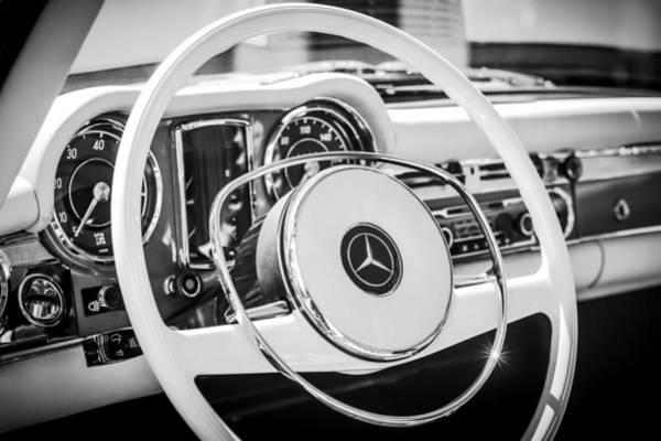 Wall Art - Photograph - 1968 Mercedes-benz 280 Sl Roadster Steering Wheel Emblem -0284bw by Jill Reger