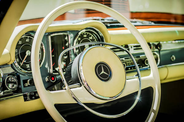 Photograph - 1968 Mercedes-benz 280 Sl Roadster Steering Wheel Emblem -0284c by Jill Reger