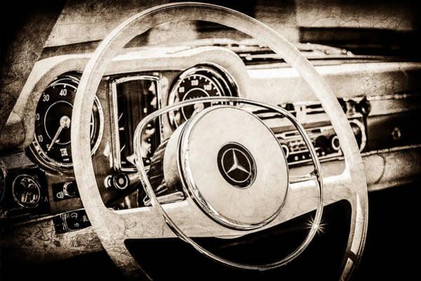 Wall Art - Photograph - 1968 Mercedes-benz 280 Sl Roadster Steering Wheel Emblem -0284s by Jill Reger