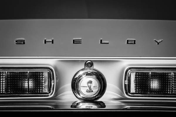 Photograph - 1968 Shelby Gt500 Kr Fastback Rear Emblem - Taillights -1085bw by Jill Reger