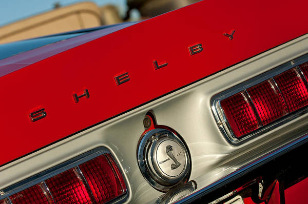 Photograph - 1968 Shelby Gt500 Kr Fastback Rear Emblem - Taillights by Jill Reger