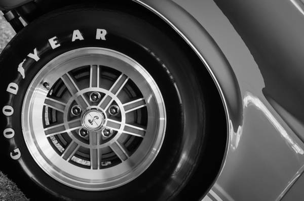 Photograph - 1968 Shelby Gt500 Kr Fastback Wheel Emblem -1112bw by Jill Reger