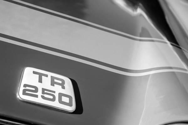 Photograph - 1968 Triumph Tr 250 Emblem -0050bw by Jill Reger