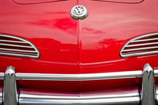 Volkswagen Photograph - 1968 Volkswagen Karmann Ghia Convertible Hood Emblem by Jill Reger