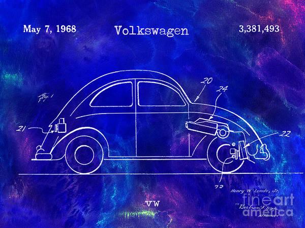 Vw Bug Photograph - 1968 Vw Patent Drawing Blue by Jon Neidert