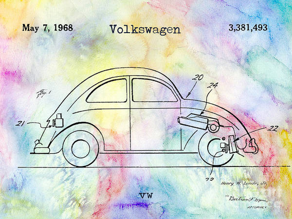 Volkswagen Photograph - 1968 Vw Patent Drawing by Jon Neidert