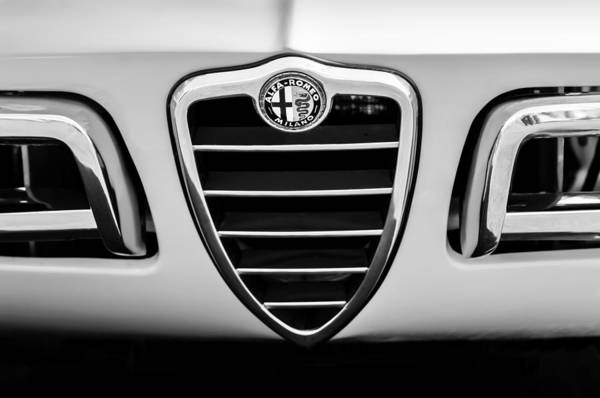 Photograph - 1969 Alfa Romeo 1750 Sider Grille Emblem -0803bw by Jill Reger