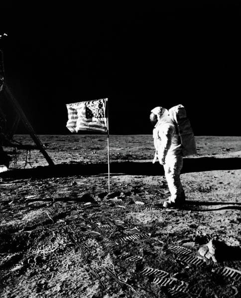 Moon Walk Wall Art - Photograph - 1969 Astronaut Us Flag And Leg Of Lunar by Vintage Images