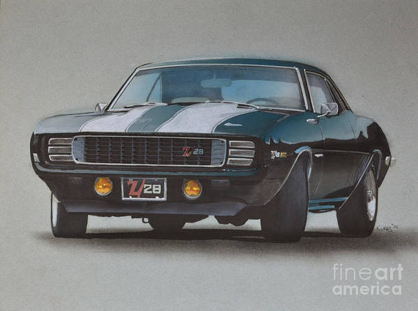 Automobile Drawing - 1969 Camaro Z28 by Paul Kuras