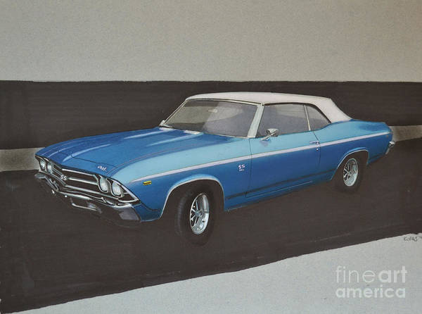 Chevrolet Drawing - 1969 Chevelle by Paul Kuras