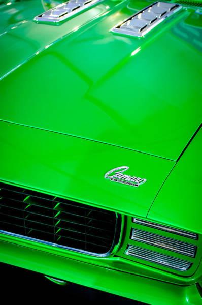Photograph - 1969 Chevrolet Camaro 396 Rs Ss L89 Hood Emblem by Jill Reger