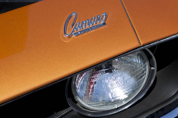 Photograph - 1969 Chevrolet Camaro Headlight Emblem by Jill Reger