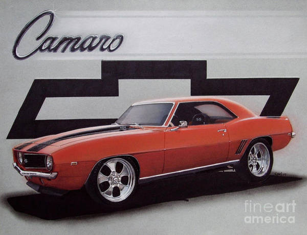 Chevrolet Drawing - 1969 Custom Camaro Ss And Bow Tie by Paul Kuras