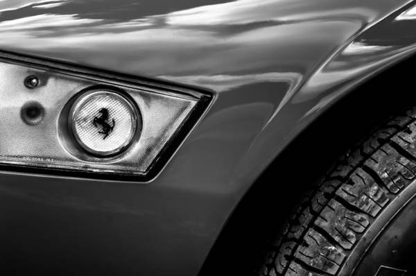 Photograph - 1969 Ferrari 365 Gtb-4 Daytona Headlight Emblem -0339bw by Jill Reger