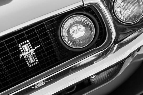 Ford Mustang Photograph - 1969 Ford Mustang Boss 429 Grill Emblem by Jill Reger