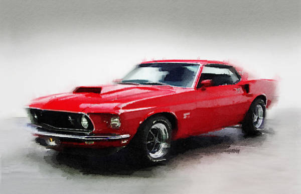 Car Mixed Media - 1969 Ford Mustang Watercolor by Naxart Studio