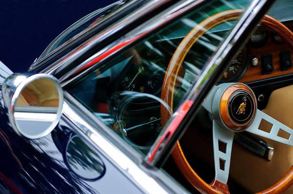 Photograph - 1969 Lamborghini Islero Steering Wheel Emblem by Jill Reger