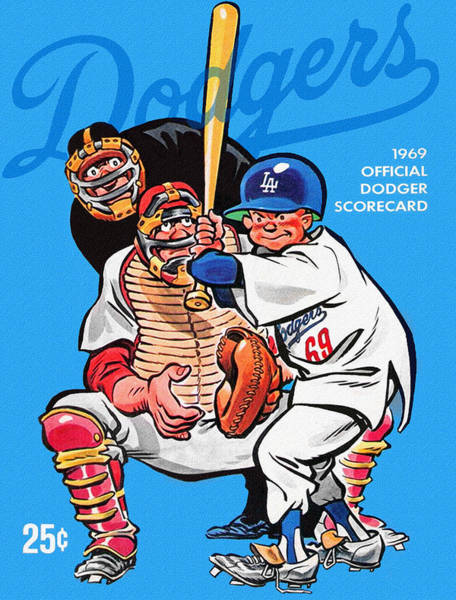 Hitter Painting - 1969 Los Angeles Dodgers Scorecard by John Farr