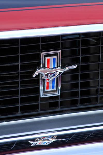 Car Part Photograph - 1969 Mustang Mach 1 Grille Emblem by Jill Reger
