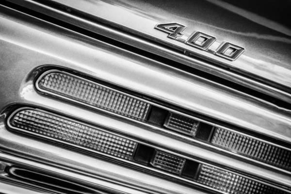 Firebird Photograph - 1969 Pontiac 400 Firebird Convertible Taillight Emblem -0029bw by Jill Reger