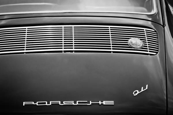 Photograph - 1966 Porsche 911 Swb Rear Emblems -1258bw by Jill Reger