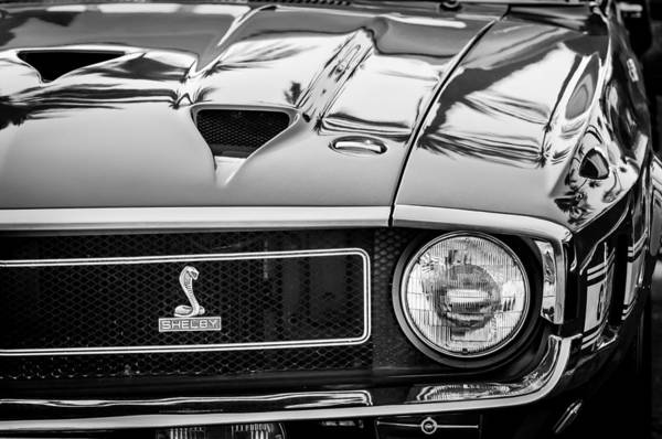 Shelby Photograph - 1969 Shelby Cobra Gt500 Front End - Grille Emblem -0202bw by Jill Reger