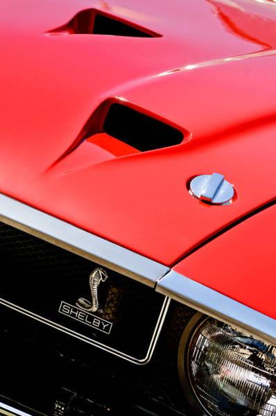 Shelby Cobra Photograph - 1969 Shelby Gt500 Convertible 428 Cobra Jet Hood - Grille Emblem by Jill Reger