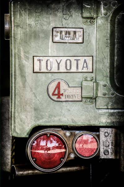 Wall Art - Photograph - 1969 Toyota Fj-40 Land Cruiser Taillight Emblem -0417ac by Jill Reger