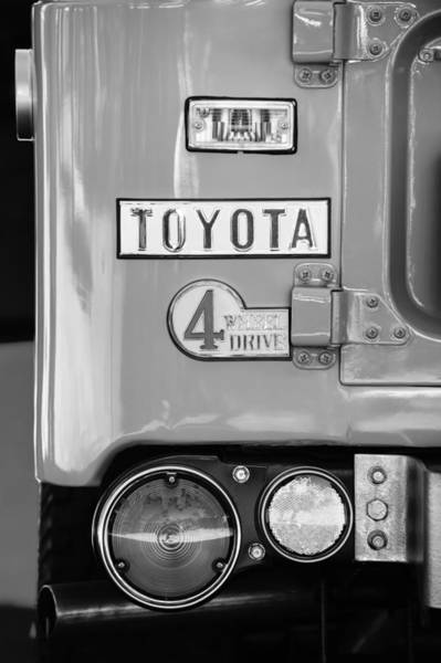 Photograph - 1969 Toyota Fj-40 Land Cruiser Taillight Emblem -0417bw by Jill Reger
