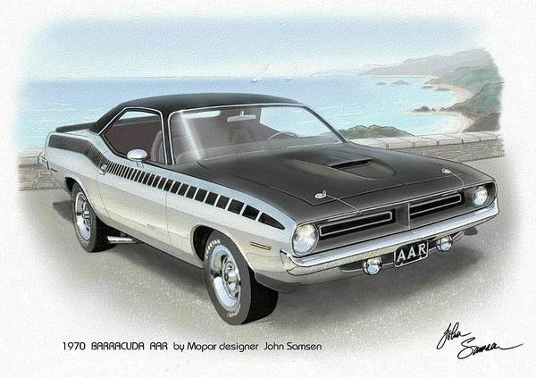 Wall Art - Painting - 1970 Barracuda Aar Cuda Plymouth Muscle Car Sketch Rendering by John Samsen