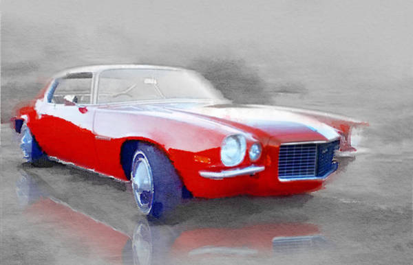 Old Car Wall Art - Painting - 1970 Chevy Camaro Watercolor by Naxart Studio