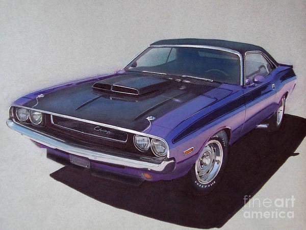 Hot Rod Drawing - 1970 Dodge Challenger by Paul Kuras