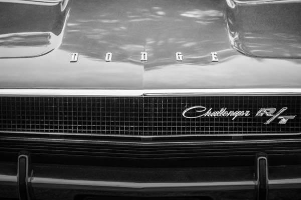 Challenger Wall Art - Photograph - 1970 Dodge Challenger Rt Convertible Grille Emblem -0545bw by Jill Reger