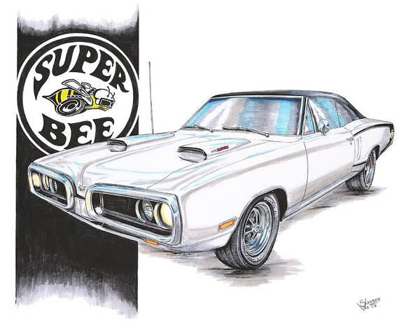Mopar Wall Art - Drawing - 1970 Dodge Super Bee by Shannon Watts