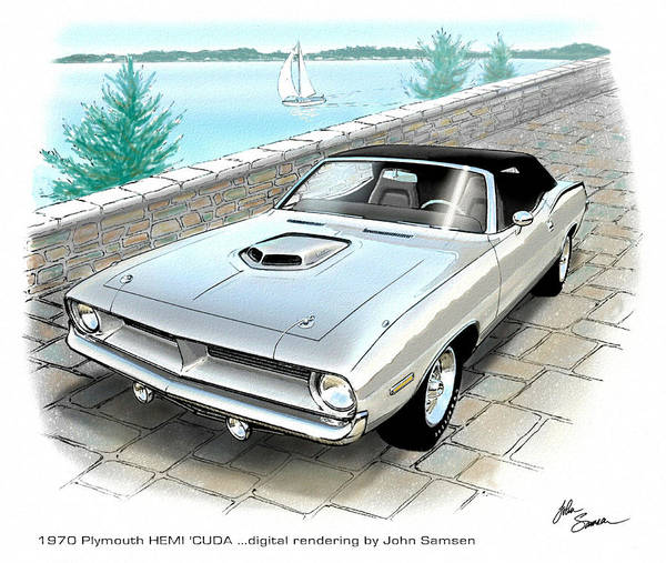 Roadrunner Painting - 1970 Hemi Cuda Plymouth Muscle Car Sketch Rendering by John Samsen