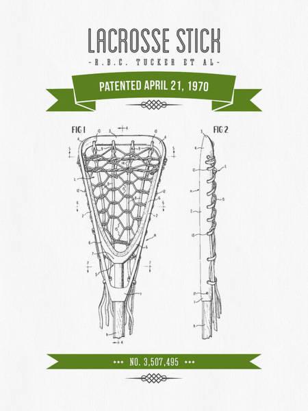 Stick Digital Art - 1970 Lacrosse Stick Patent Drawing - Retro Green by Aged Pixel