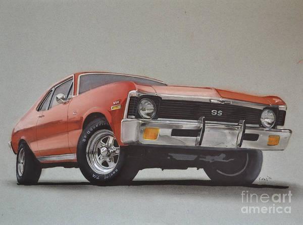 American Car Drawing - 1970 Nova by Paul Kuras