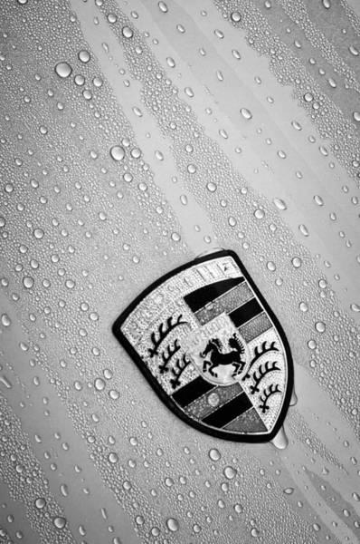 Photograph - 1970 Porsche 911 S Emblem -0151bw by Jill Reger