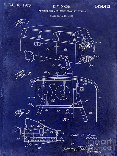 Volkswagen Photograph - 1970 Vw Patent Drawing Blue by Jon Neidert